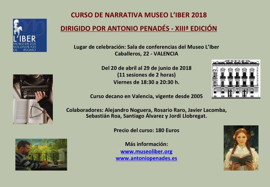 Cartel del Curso narrativa Museo LIber 2018